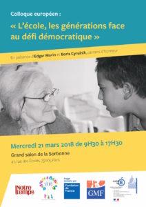 Colloque européen «L'école, les générations face au défi démocratique» à la Sorbonne
